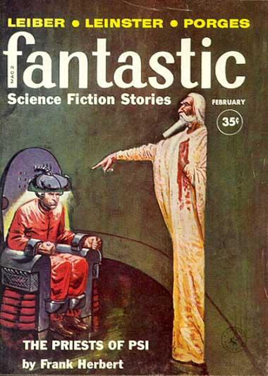 """Создатели небес"" (""The Priests of Psi"" ) Ф. Герберта на обложке журнала Fantastic (февраль 1960 года)"