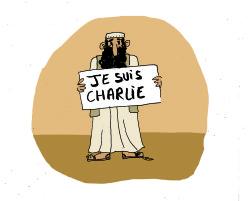 """Мусульманин с плакатом """"Я - Шарли"""". Карикатура Матильды Буваль."""