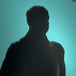 Silhouette of middle aged bold man