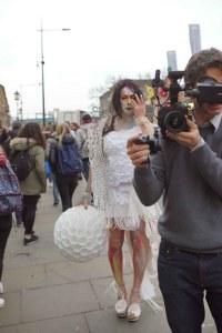 Sam filming in Camden high street