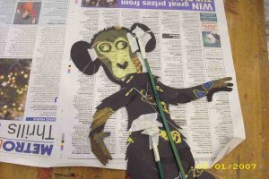 monkey silhouette puppet in the making