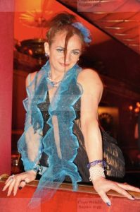 Stephanie at the Rivili Ballroom wearing a black string outfit posing for a shot
