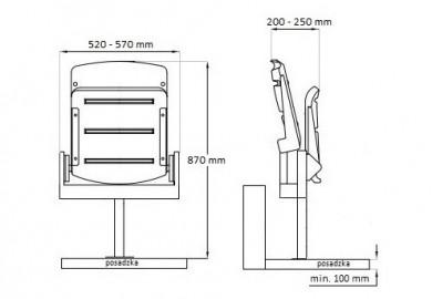 krzesełka stadionowe Rewia rysunek techniczny