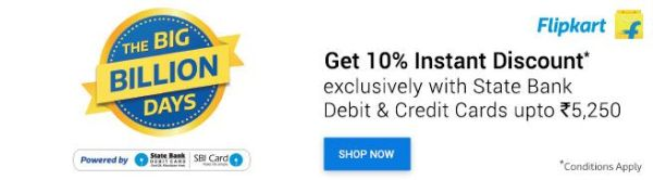 avail 10% extra discount on Flipkart big billion days sale