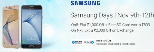 Samsung days on Flipkart offer-exrta 10% Off SBI cards