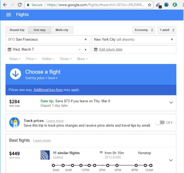 Google flights search engine flight.google.com
