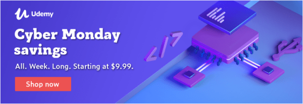 cyber-monday-sale-udemy 2019 $9.99 courses