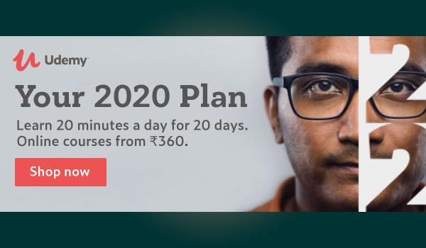 Your 2020 Plan. Learn 20 minutes a day for 20 days. Online courses from ₹360.