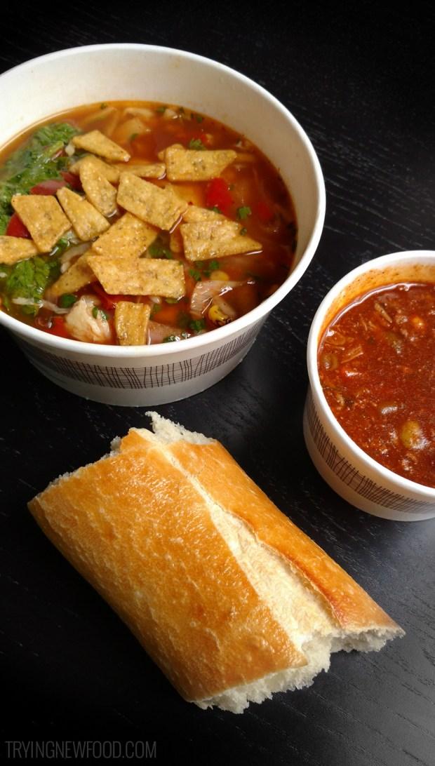 Panera Southwest Chicken Tortilla Bowl and Turkey Chili