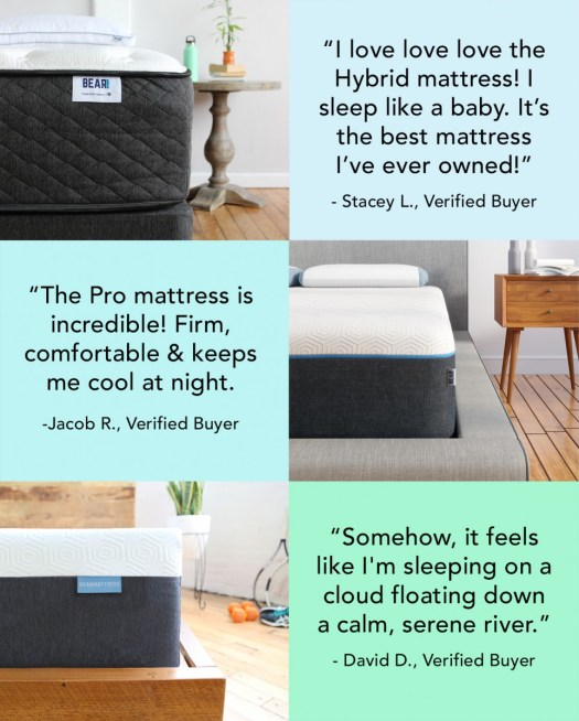 Try Any Mattress of Your Choice RISK-FREE @ Home W/ Free Delivery bear-customers-feedback Bear Hybrid (20% off)