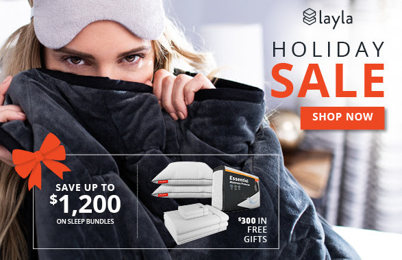 Try Any Mattress of Your Choice RISK-FREE @ Home W/ Free Delivery holiday-sale-2020 Layla ($300 in free gifts)