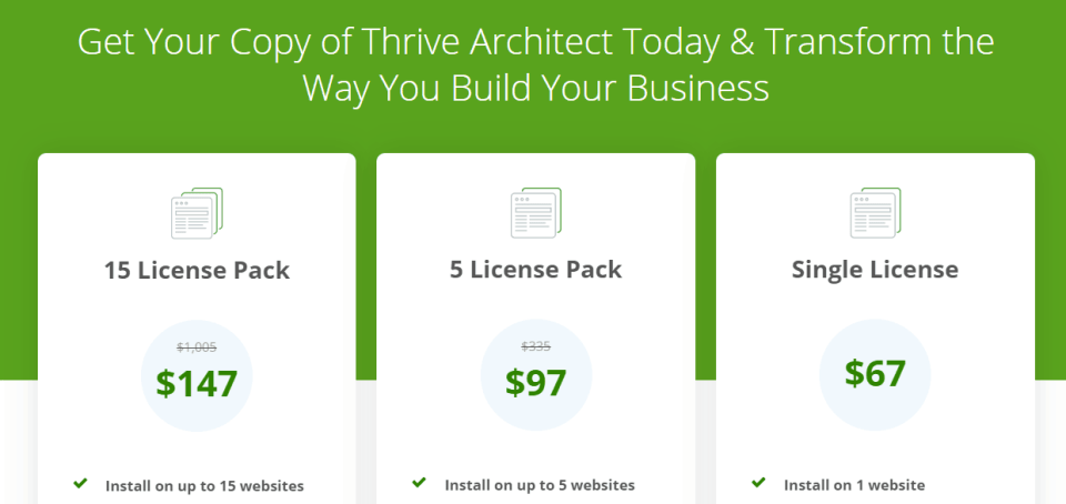 thrive architect pricing discount
