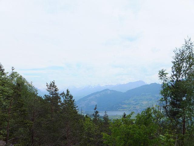山ハイキングの途中で見えるスイスの湖の景色