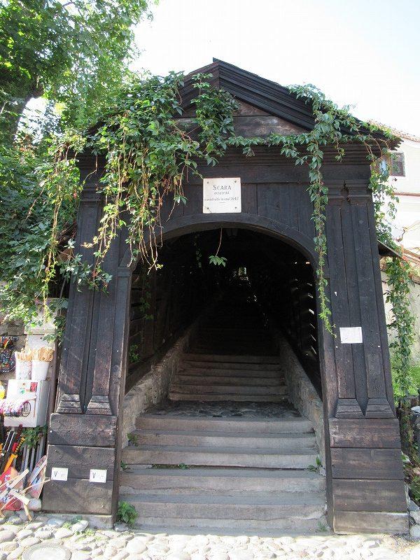 シギショアラ旧市街山上教会への階段:ルーマニア旅行