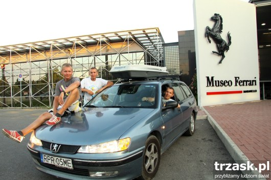 Our brave Blue Arrow in Maranello by the Ferrari museum
