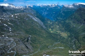The road leading to the village of Geiranger and Geirangerfiordu