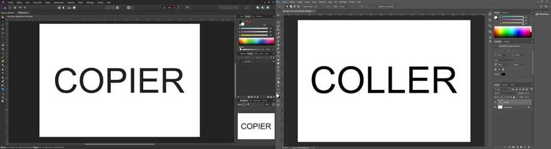 Affinity photo Adobe Photoshop copier coller