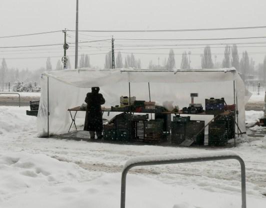 Szombati piac hóban