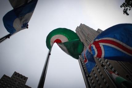 Magyar zászló a Rockeffeler centernél