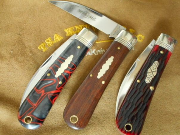 GEC 47 Vipers L to R, Lava Acrylic, Che Chen Rosewood, Blood Red Jigged Bone