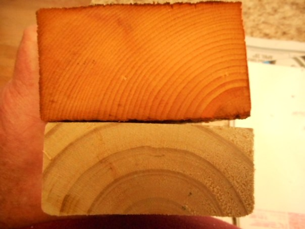 Old Growth 2x4 Top, New Growth Bottom