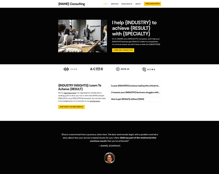 Consultix is clean and modern design responsive #wordpress #template for professional corporate business and financial services website with 14 niche. Consultant Website Template Kit Tsavo Neal