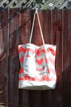 Beach Bag XL, Coral ZigZag