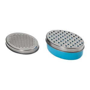A grater with two different-sized grates and a lid to store extras.