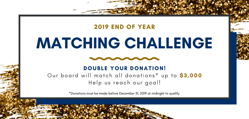 Graphic for the 2019 end of year Donation Matching Challenge