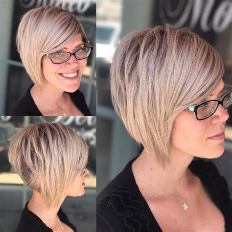 women choppy blonde stacked bob short hairstyles