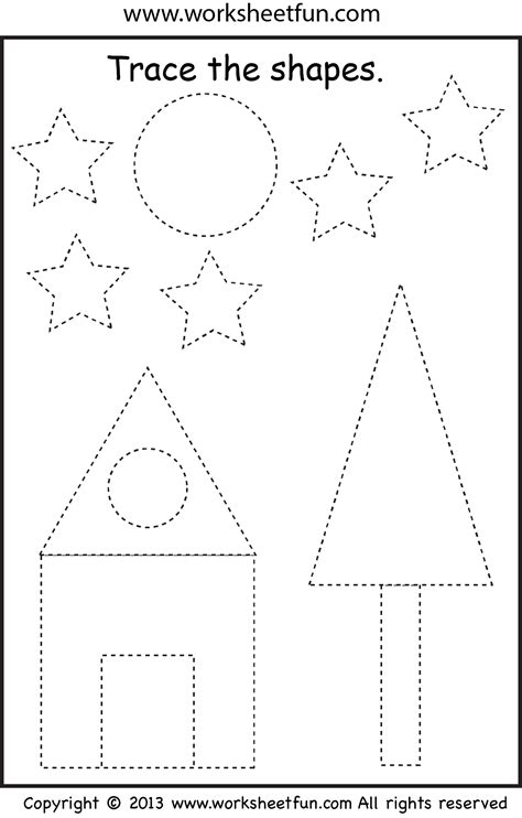 preschool shape tracing worksheet pinterest preschool shapes tracing