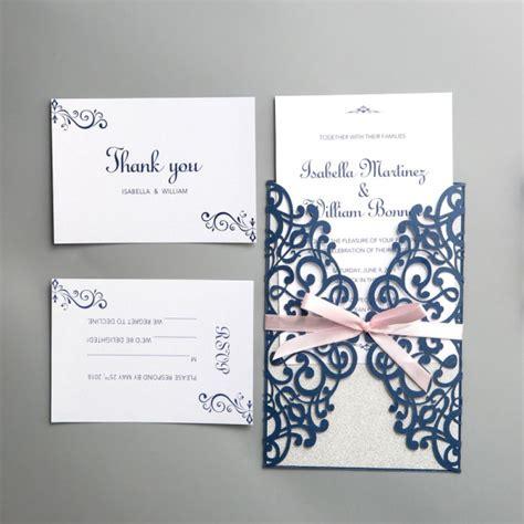 spring laser cut wedding invitations ribbon navy blue