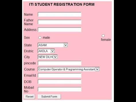 create student registration form javascript youtube