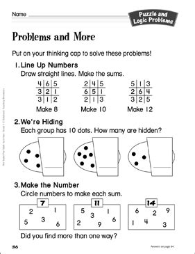 problems grade 1 puzzle logic problems activity printable
