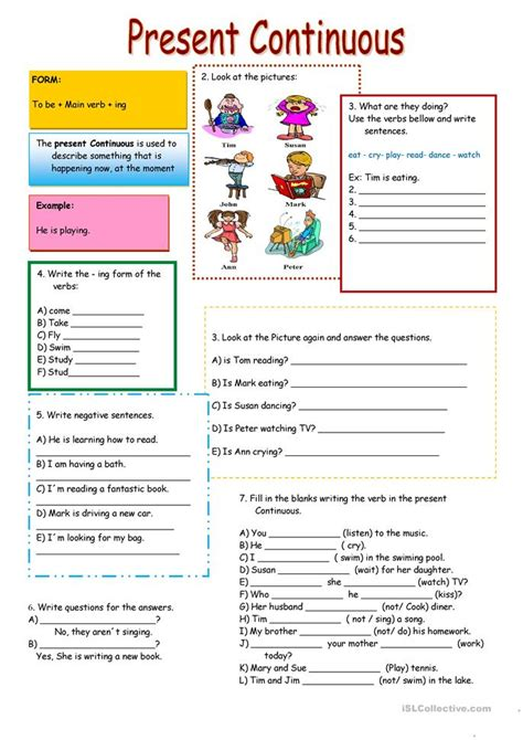 present continuous worksheet free esl printable worksheets teachers
