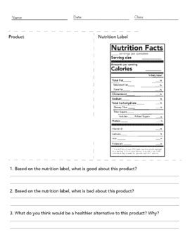 nutrition facts worksheet 2018 la bria wimberly tpt