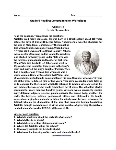printable comprehension worksheets grade 6 jowo