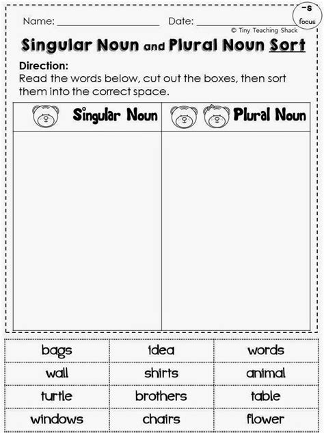 singular plural noun common core practice 1st 2nd