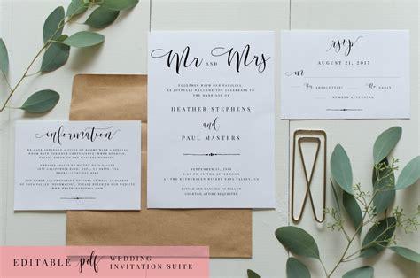 wedding invitation suite editable wedding templates creative market