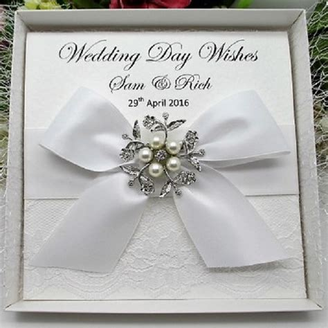 personalised boxed luxury wedding card lace handmade vintage