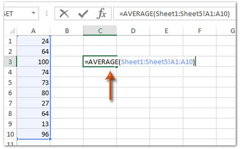 calculate average cells sheets excel