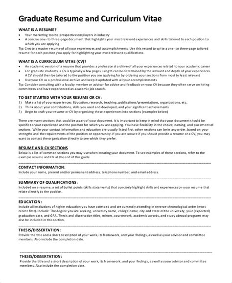 free 9 sle graduate school resume templates ms