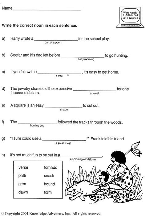 nounorama word usage grade vocabulary activity jumpstart grade