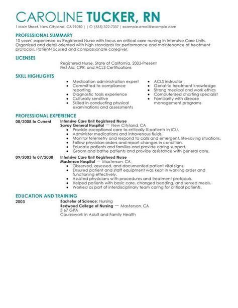 intensive care unit registered nurse resume sle nurse