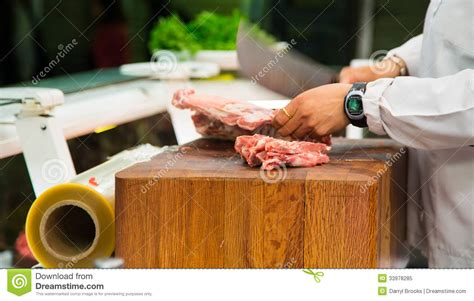 butcher cutting meat cleaver stock image image