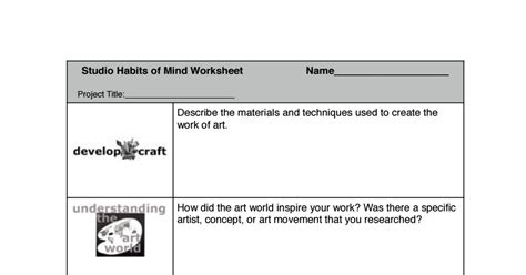 studio habits mind worksheet final habits mind art