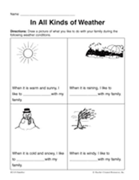 kinds weather printable pre 1st grade teachervision