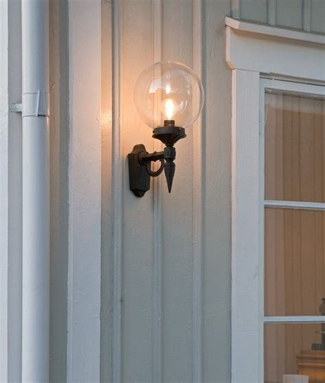 clear glass globe shade outdoor wall light