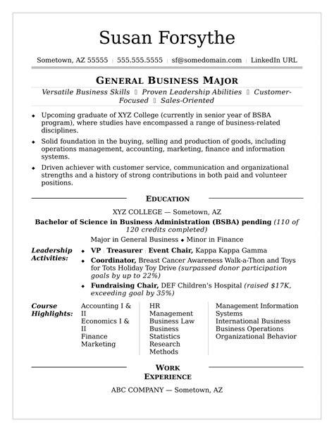 college resume monster