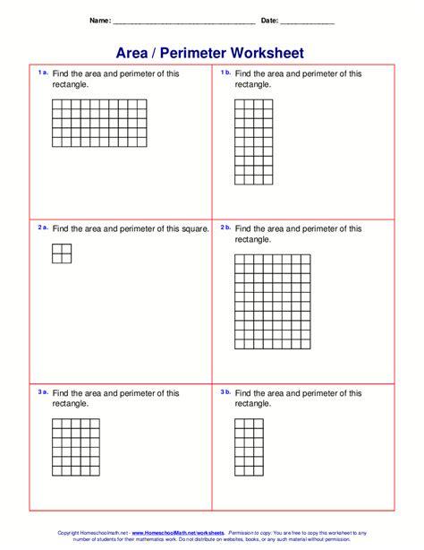 area perimeter worksheets rectangles squares